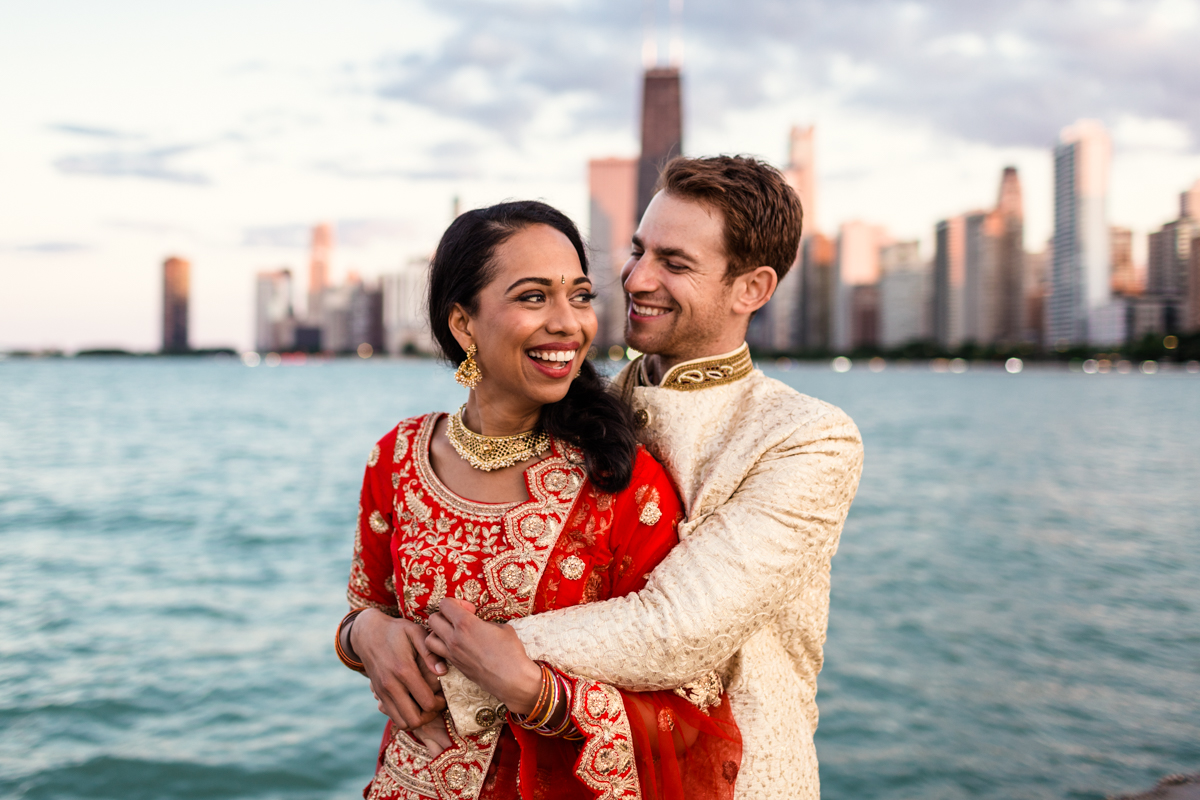 Chicago Indian wedding photo with skyline by documentary wedding photographer Emma Mullins Photography