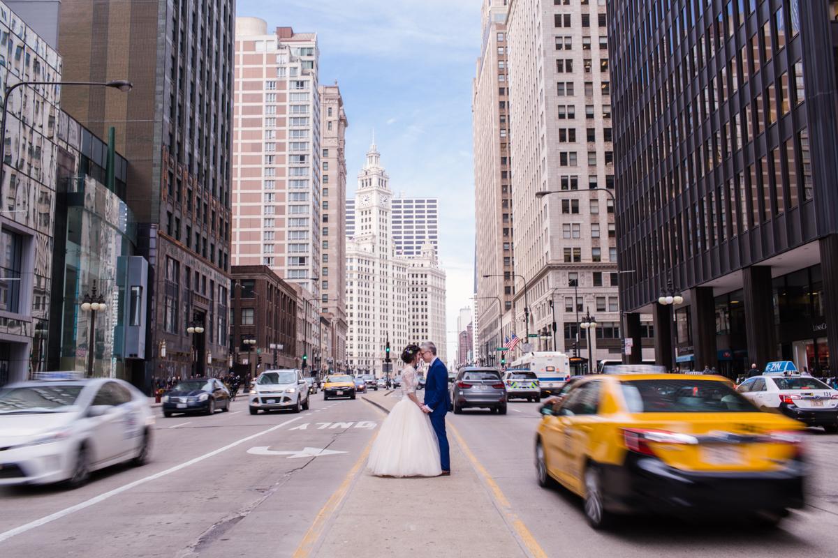 Downtown traffic wedding