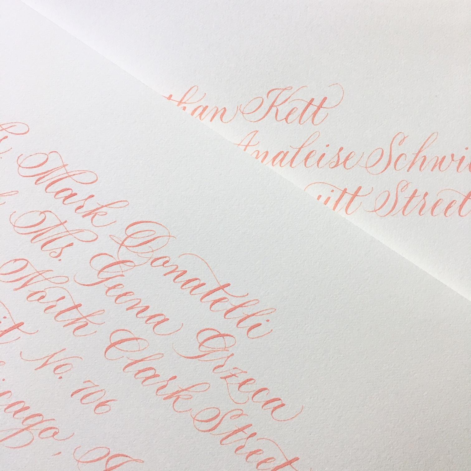 Raven coral ink envelopes
