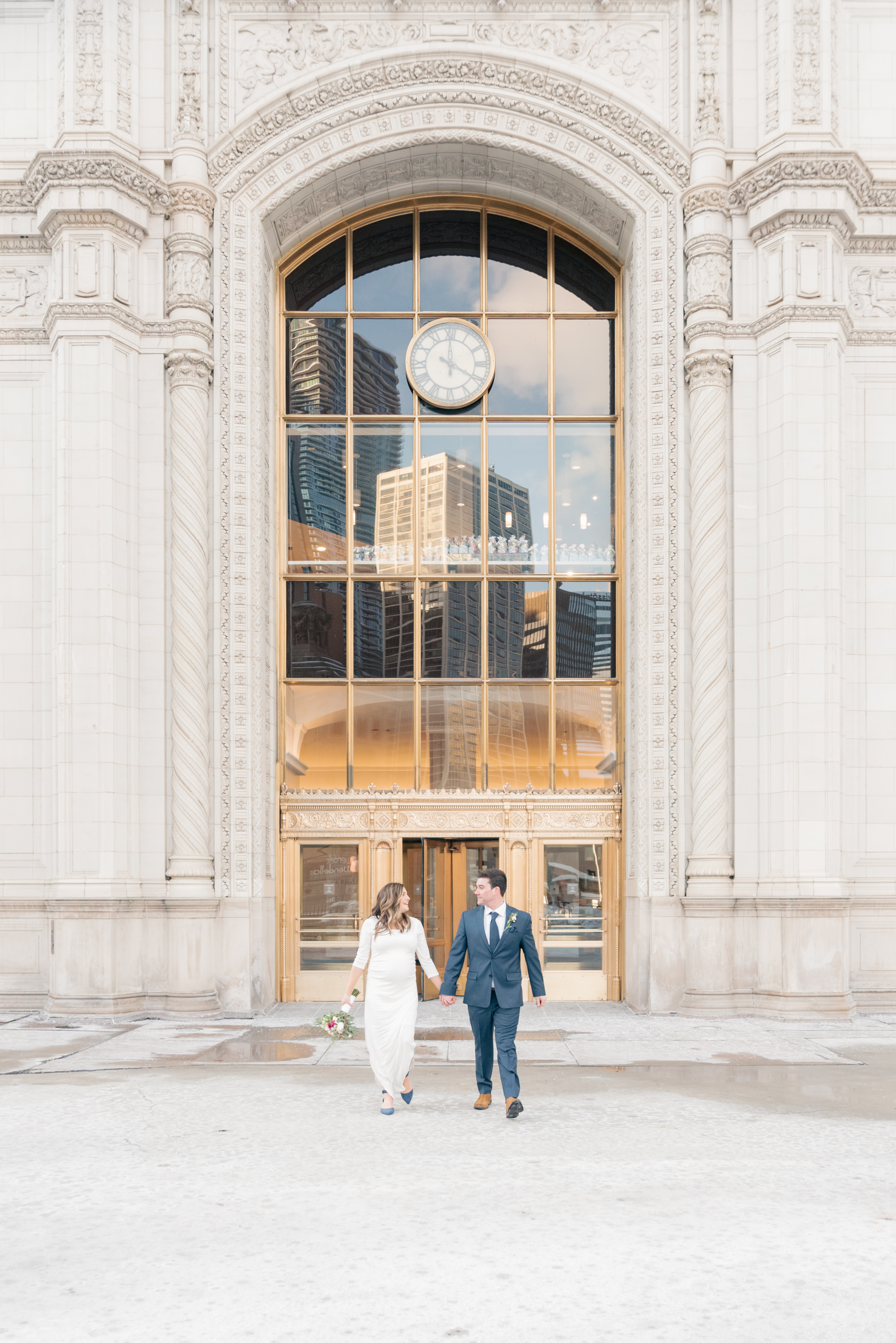 Bride and groom portraits at the Wrigley building in Chicago