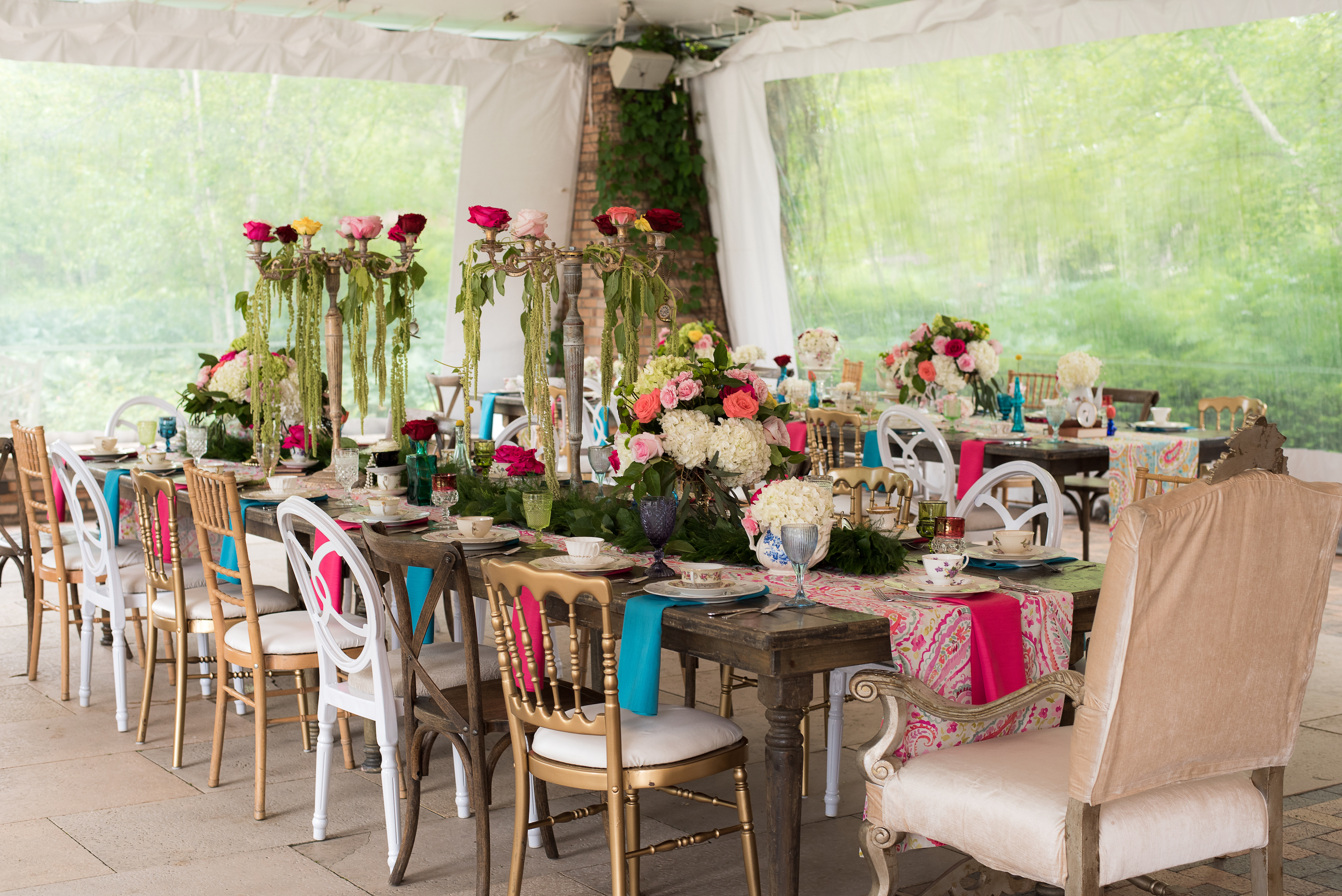Alice In Wonderland Mixed Setup Farm Tables and Chairs