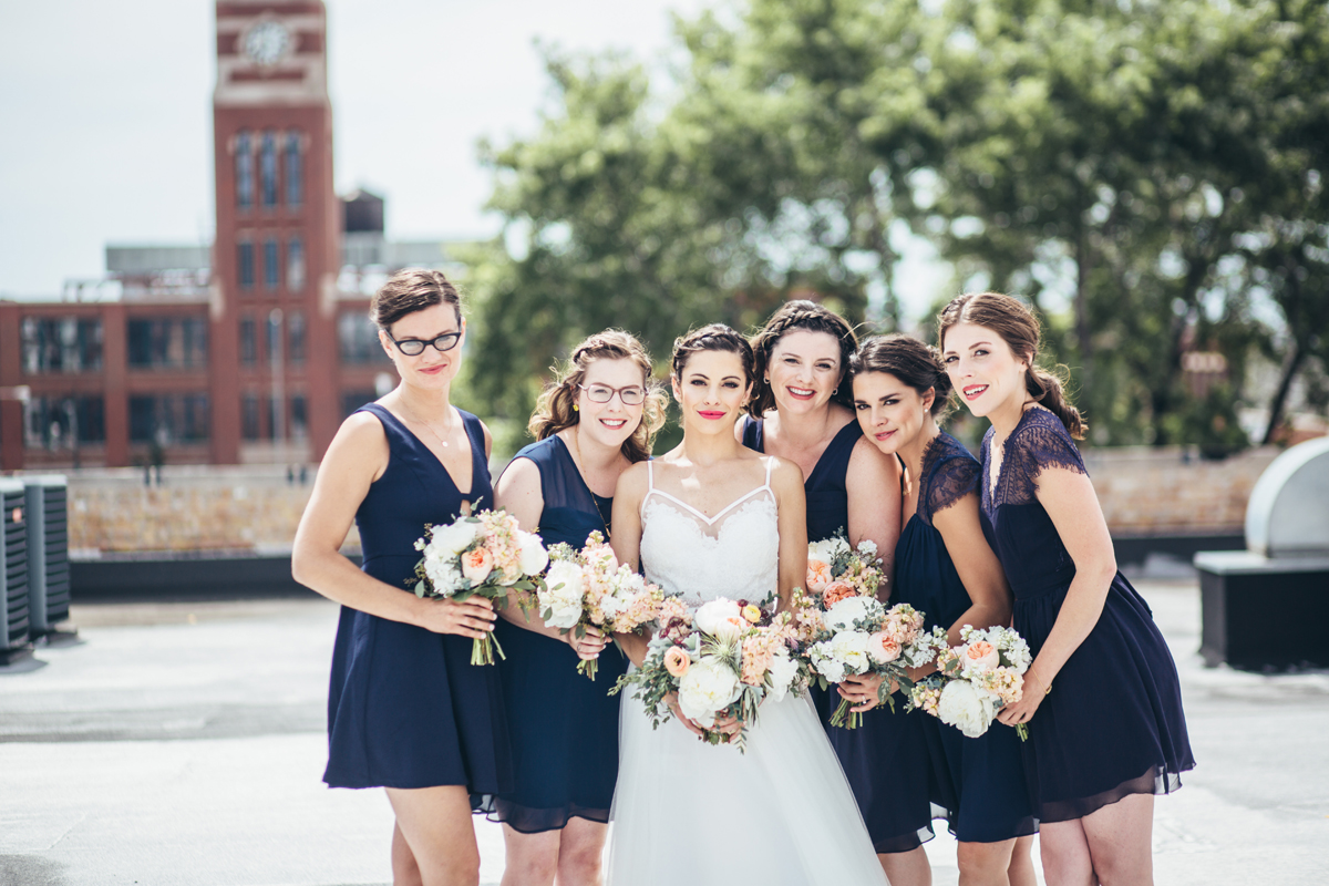 Bridesmaids in Navy West Loop Wedding