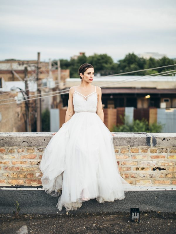 Bride on Chicago Rooftop Room 1520