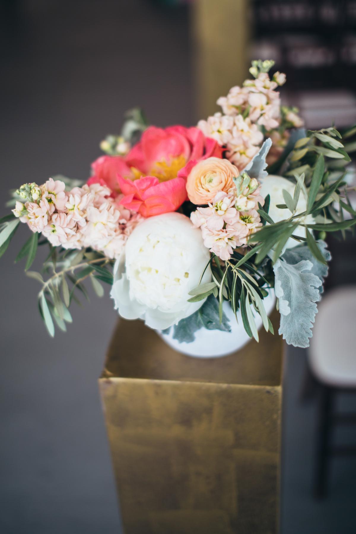 Wedding Ceremony Flowers with Peonies