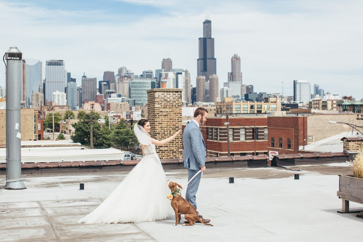 Bride and Groom First Look with Dog Chicago Skyline