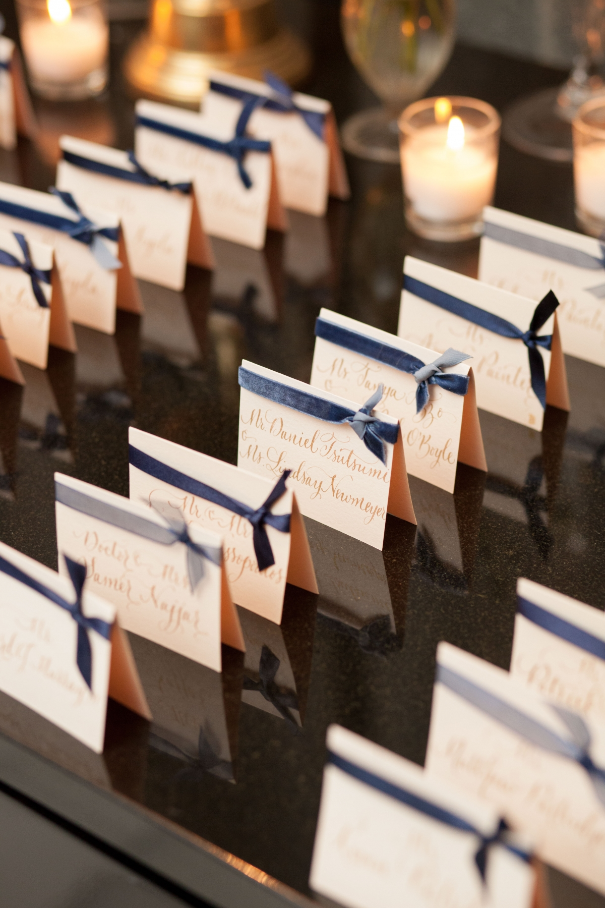 Escort Cards with Blue Ribbon