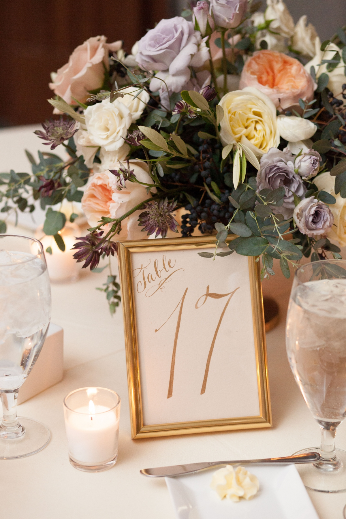 Pastel Centerpiece with Calligraphy Table Number