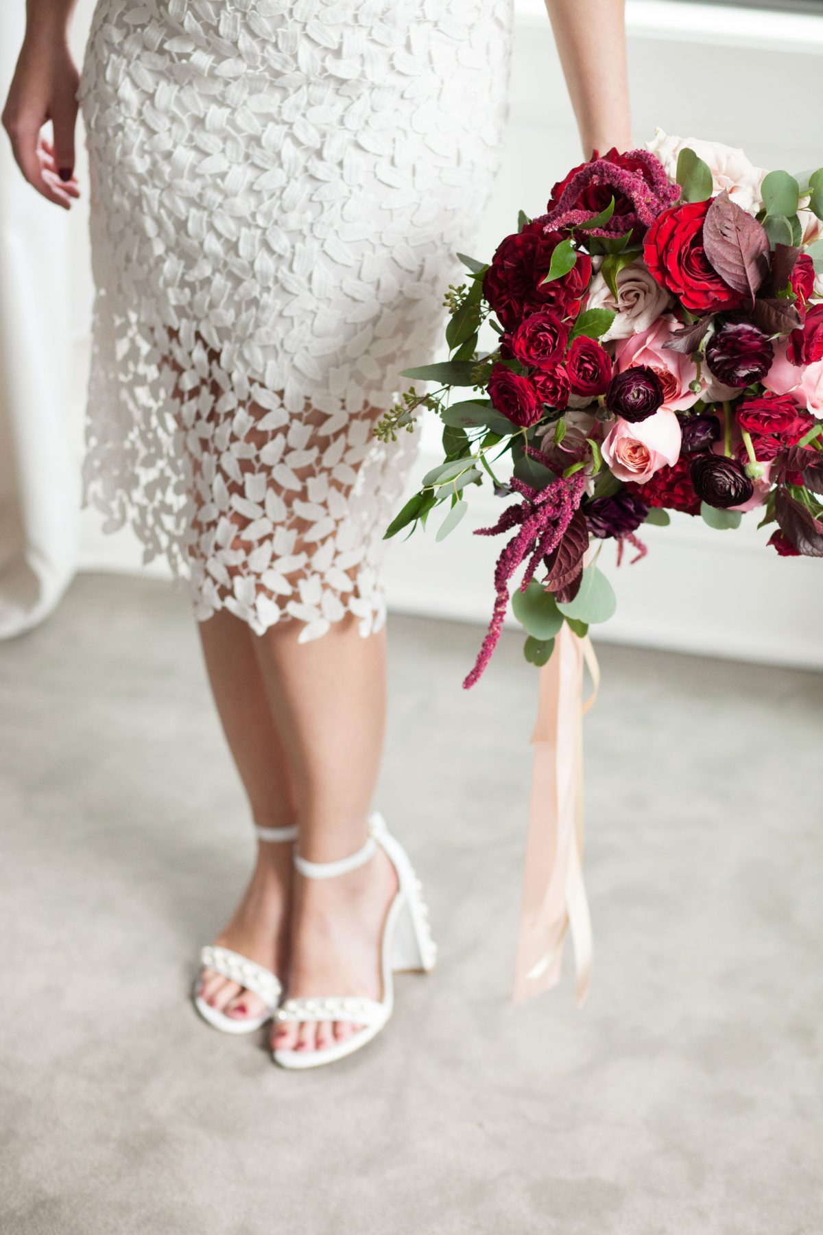 Bride with Berry Bouquet