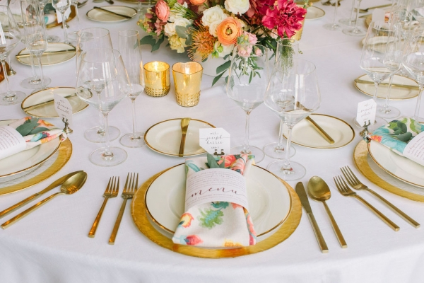 Gold and Bright White table design