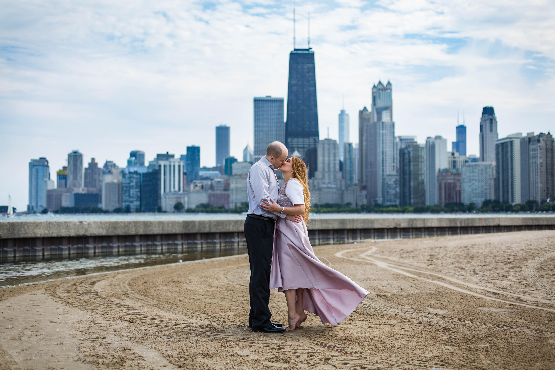 Chicago anniversary session, North Avenue beach