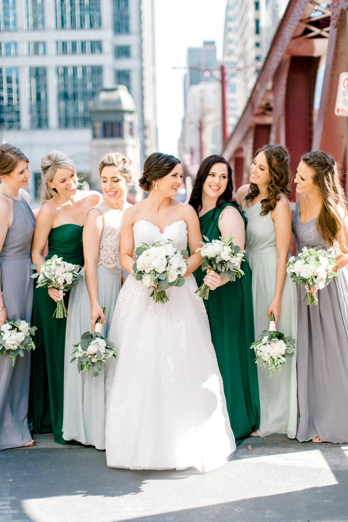Bridesmaids in Emerald and Lavender