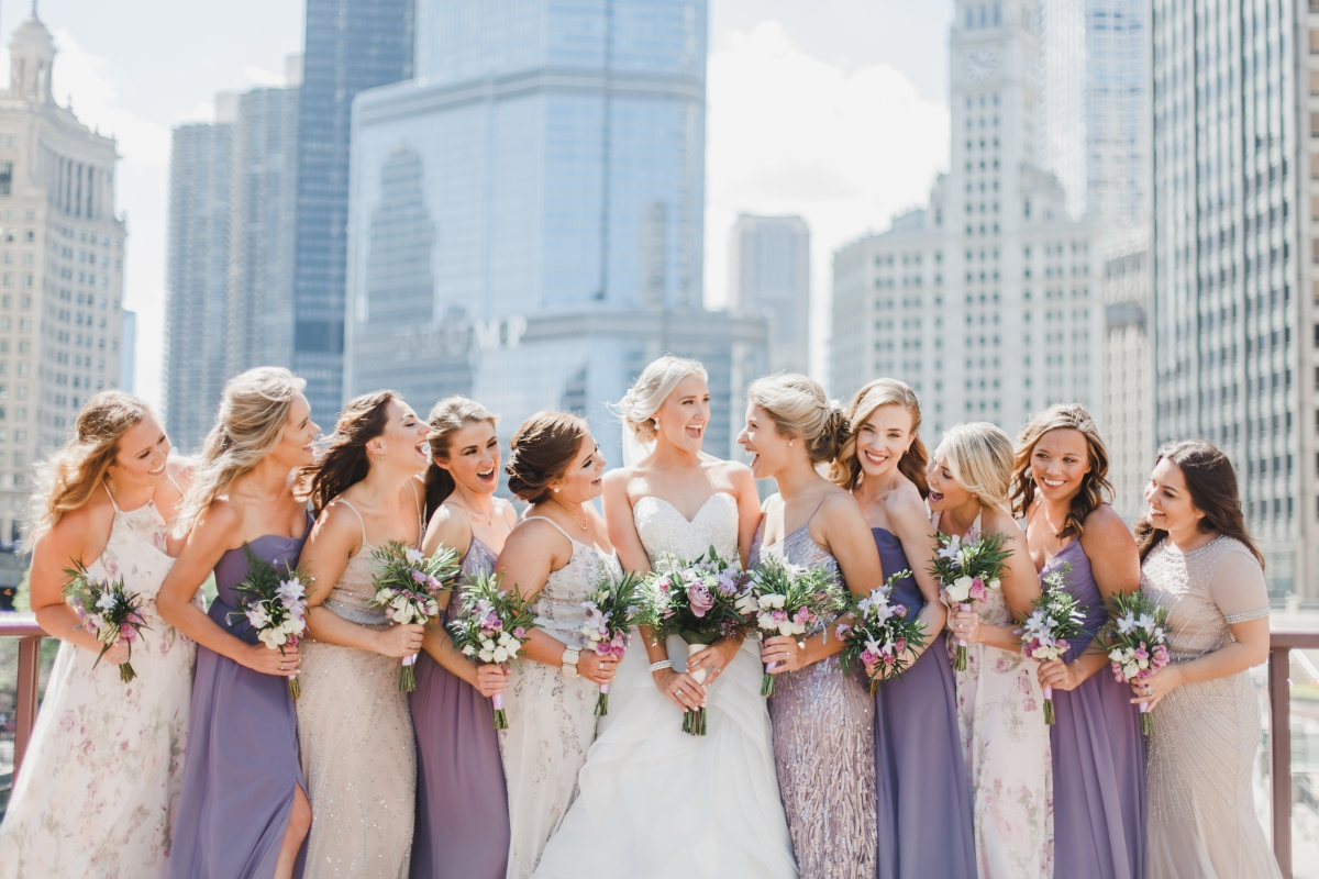 Bridesmaids in Shades of Purple