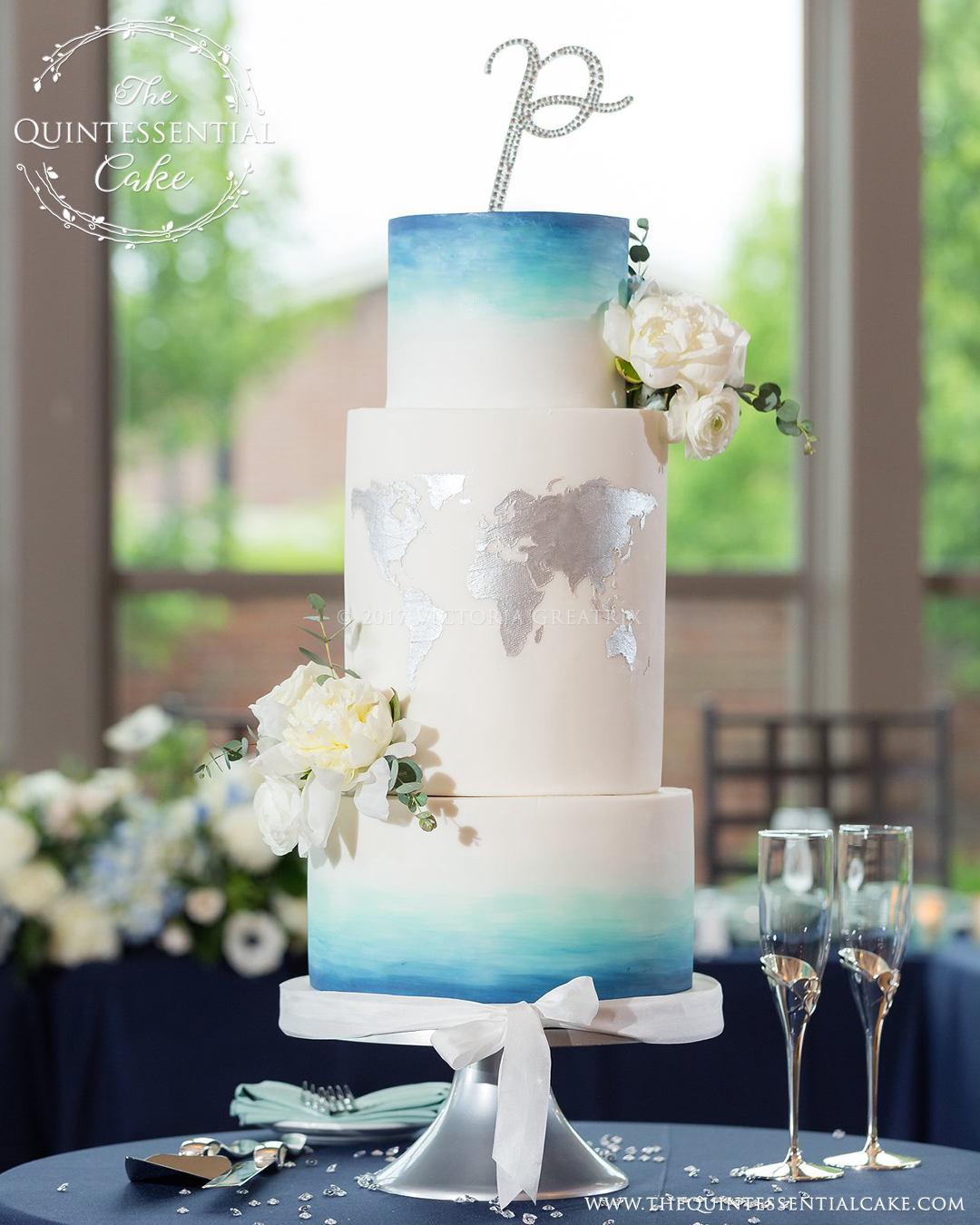 TQC Ombre Watercolor & Map Wedding Cake Lisa&David BeingJoyPhotography