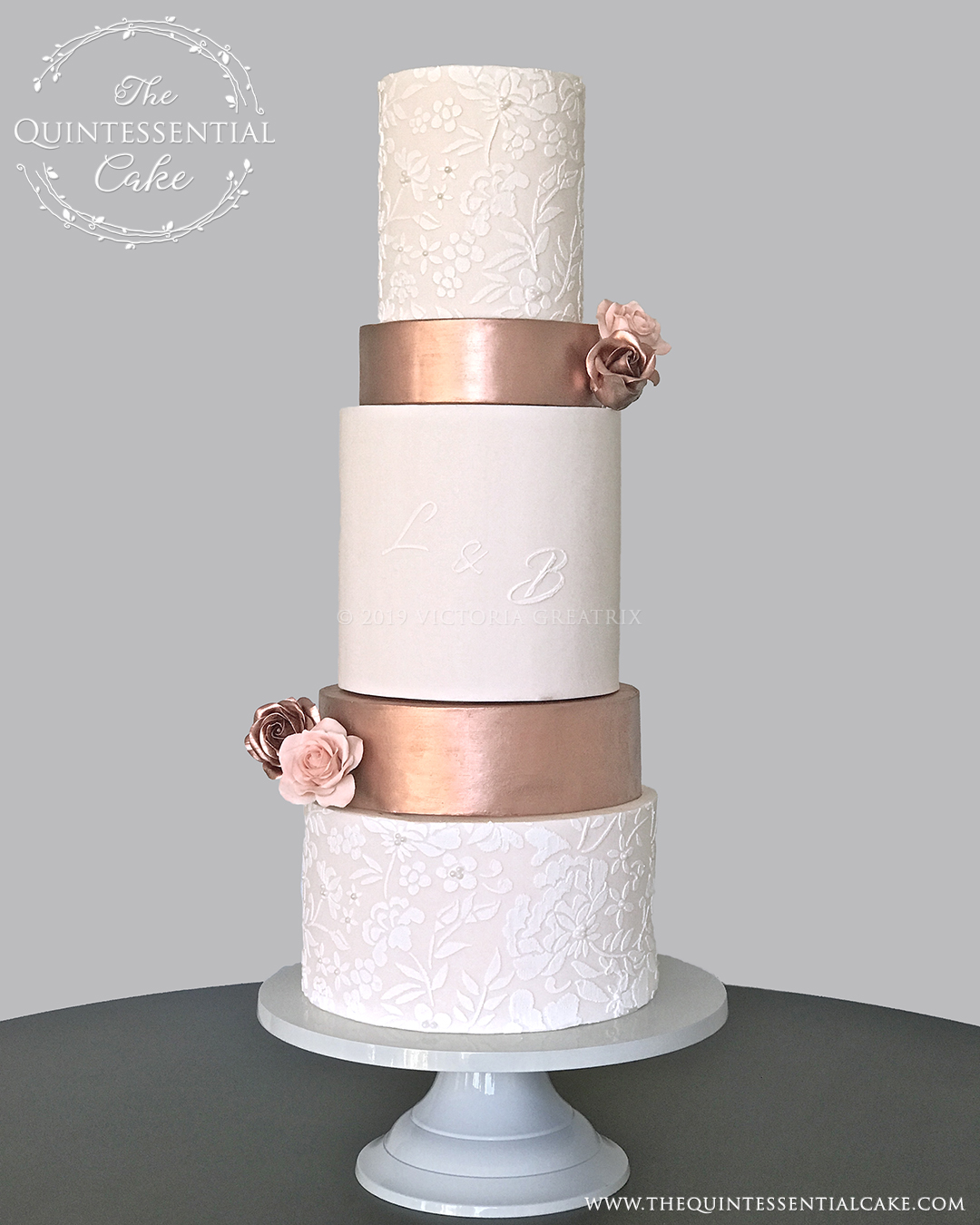 TQC Peach & Copper Wedding Cake studio