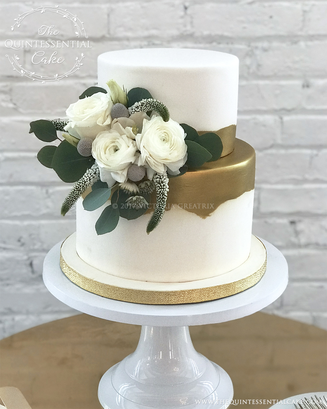 TQC Small White & Gold With Flowers