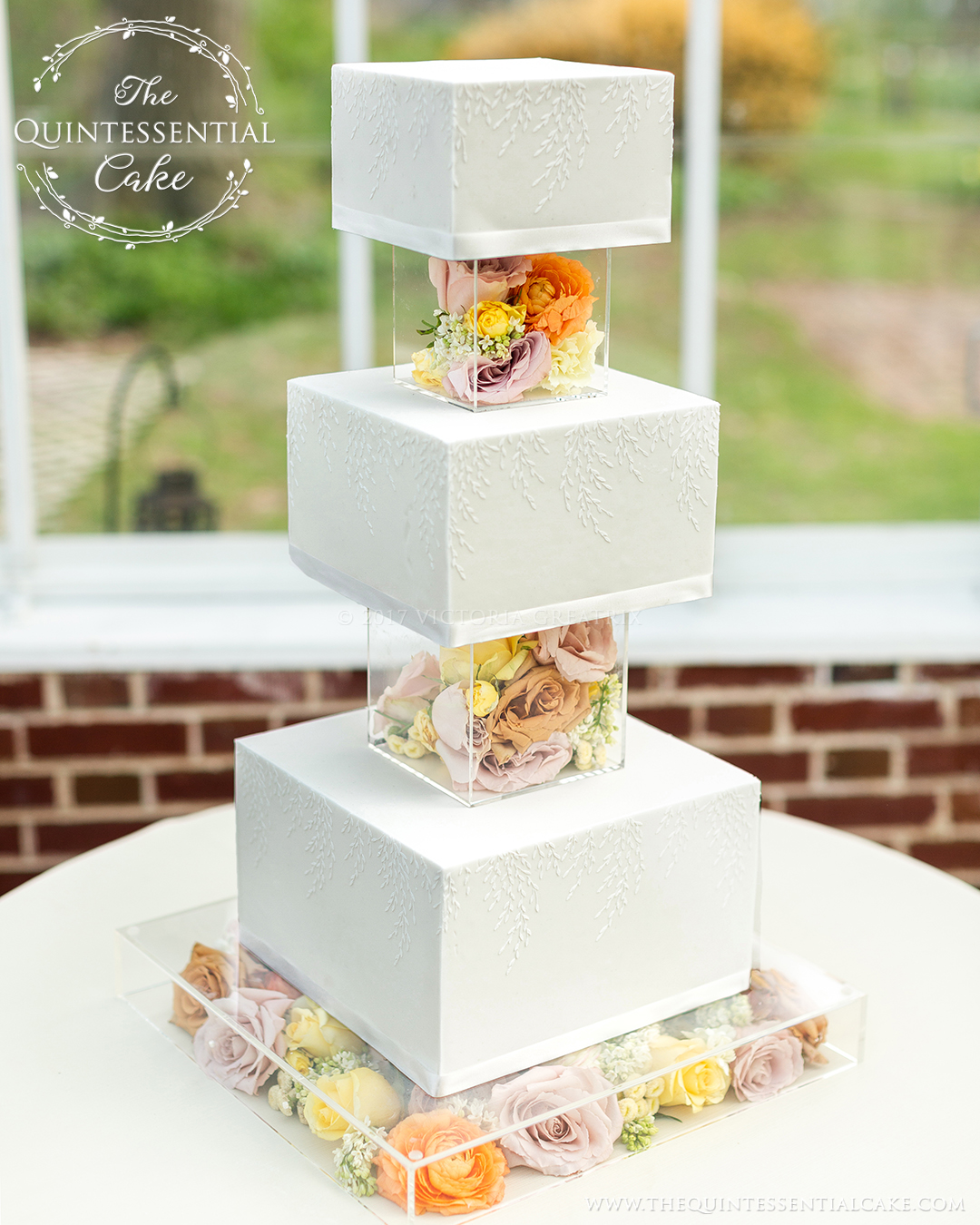 TQC Square Cake with Acrylic Risers