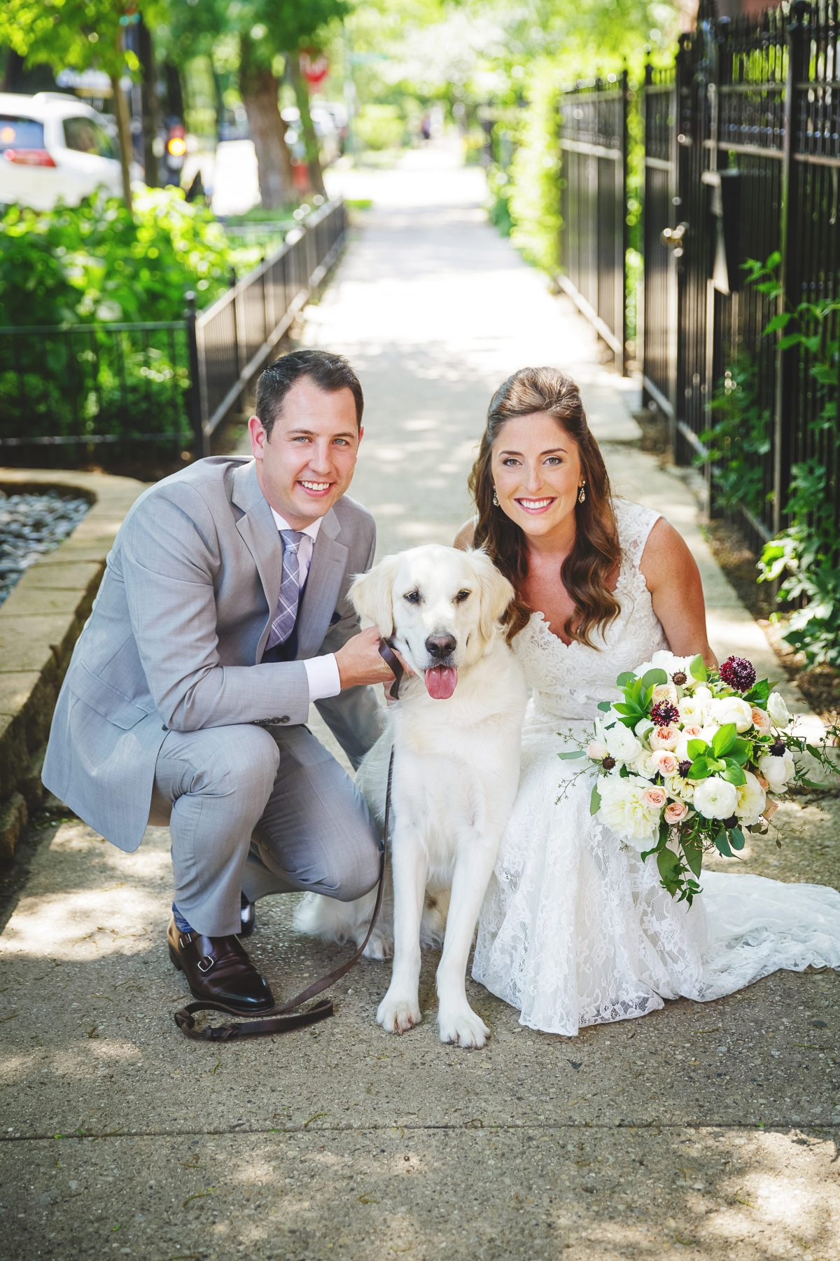 Chicago Bride and Groom with Dog
