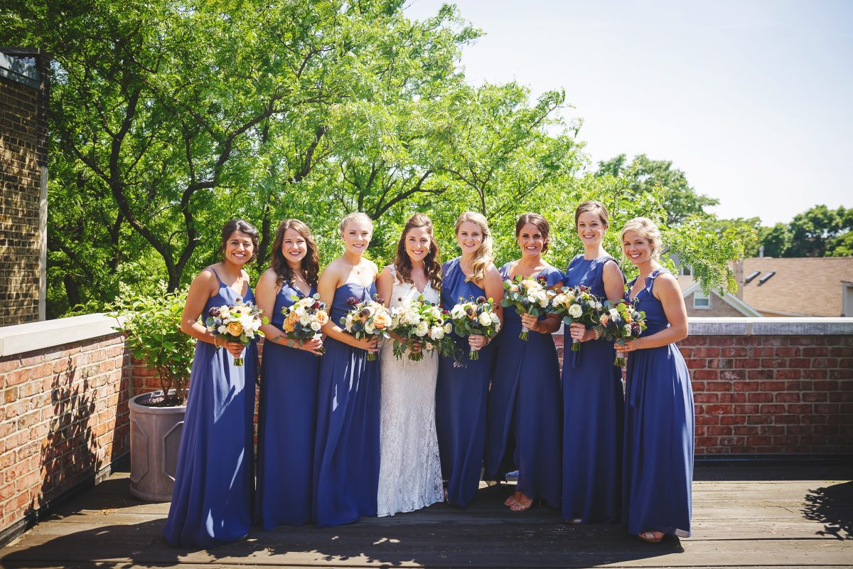 Bridesmaids in Blue Joanna August Dresses