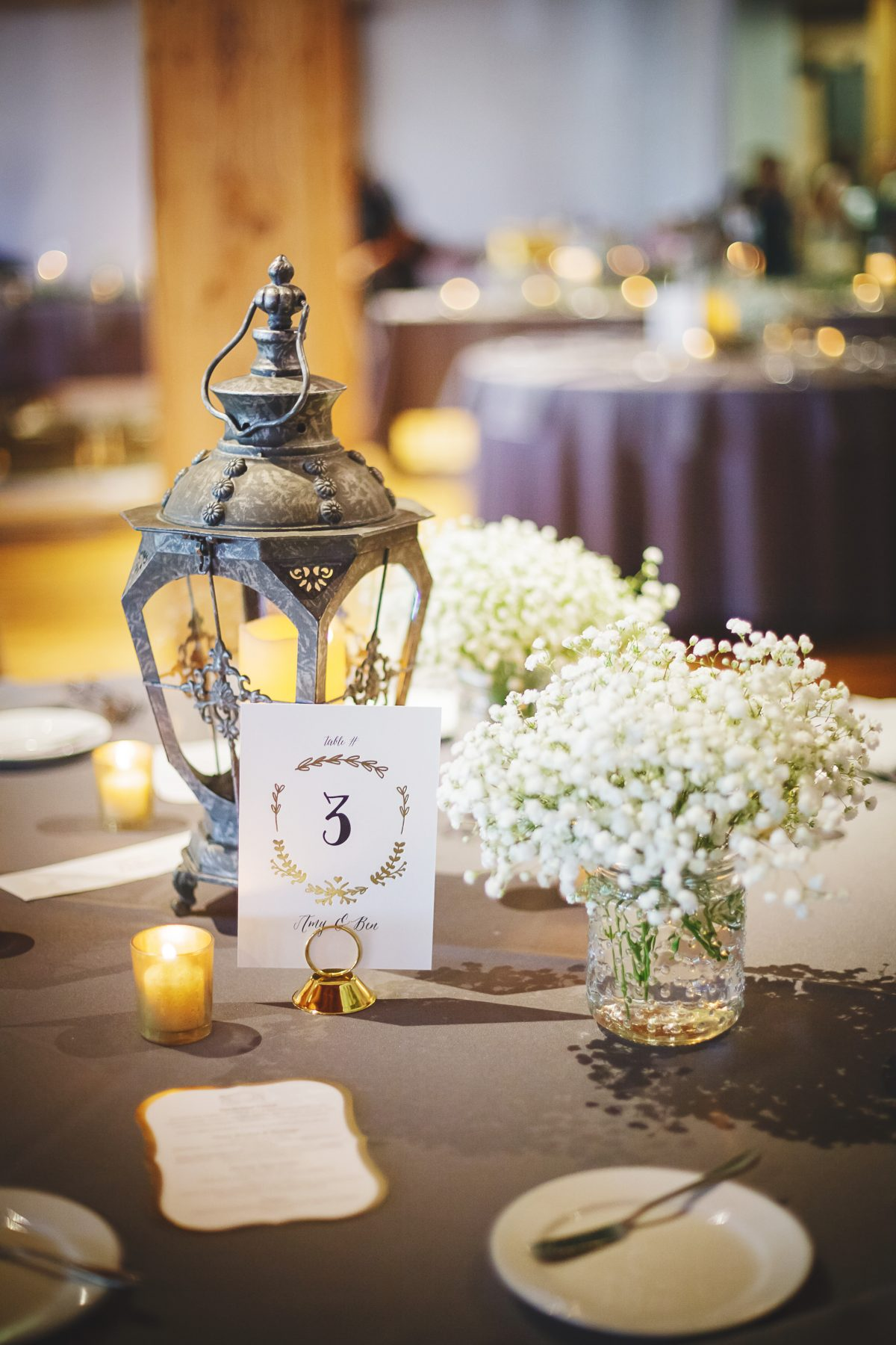Lantern and Baby's Breath Centerpiece