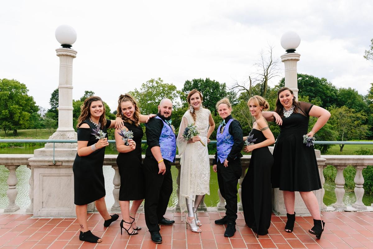 Bridesmaids and Bridesman in Black