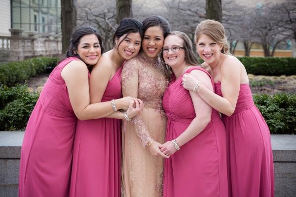 Bridesmaids in Hot Pink Dresses