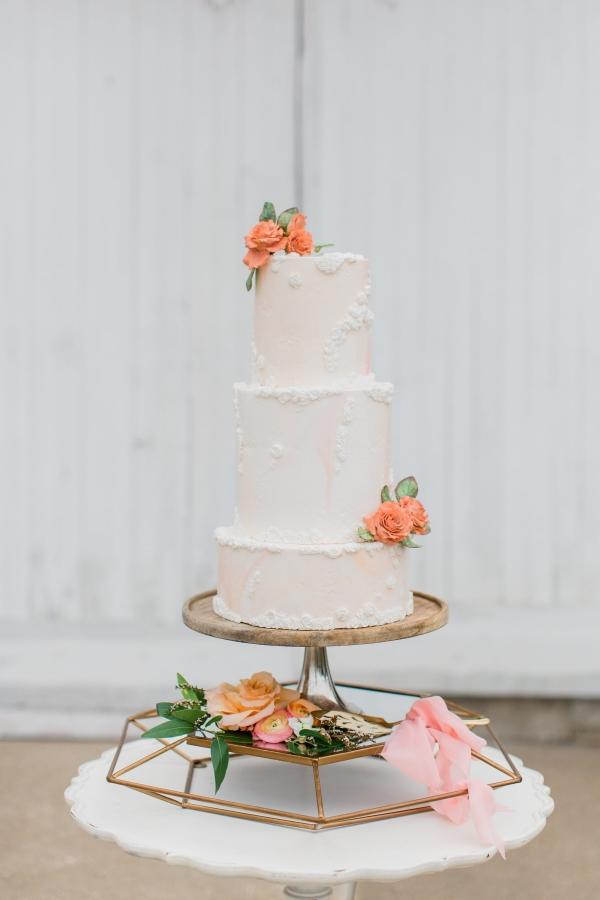 Peach and White Wedding Cake (1)