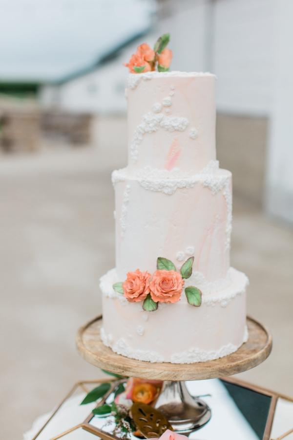 Peach and White Wedding Cake (2)