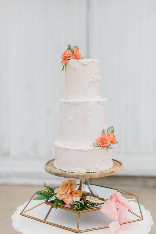Peach and White Wedding Cake (3)