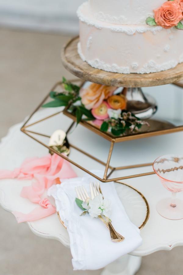 Peach and White Wedding Cake (4)