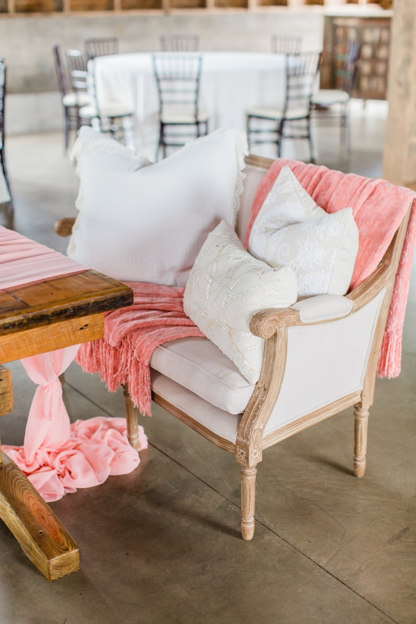 Pink and White Wedding Lounge Seating