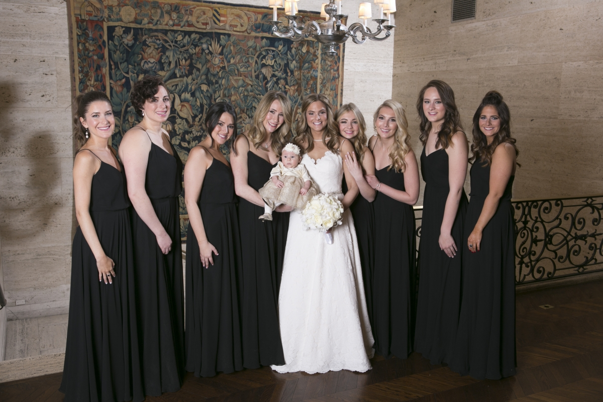Bridesmaids in Black Jenny Yoo Dresses