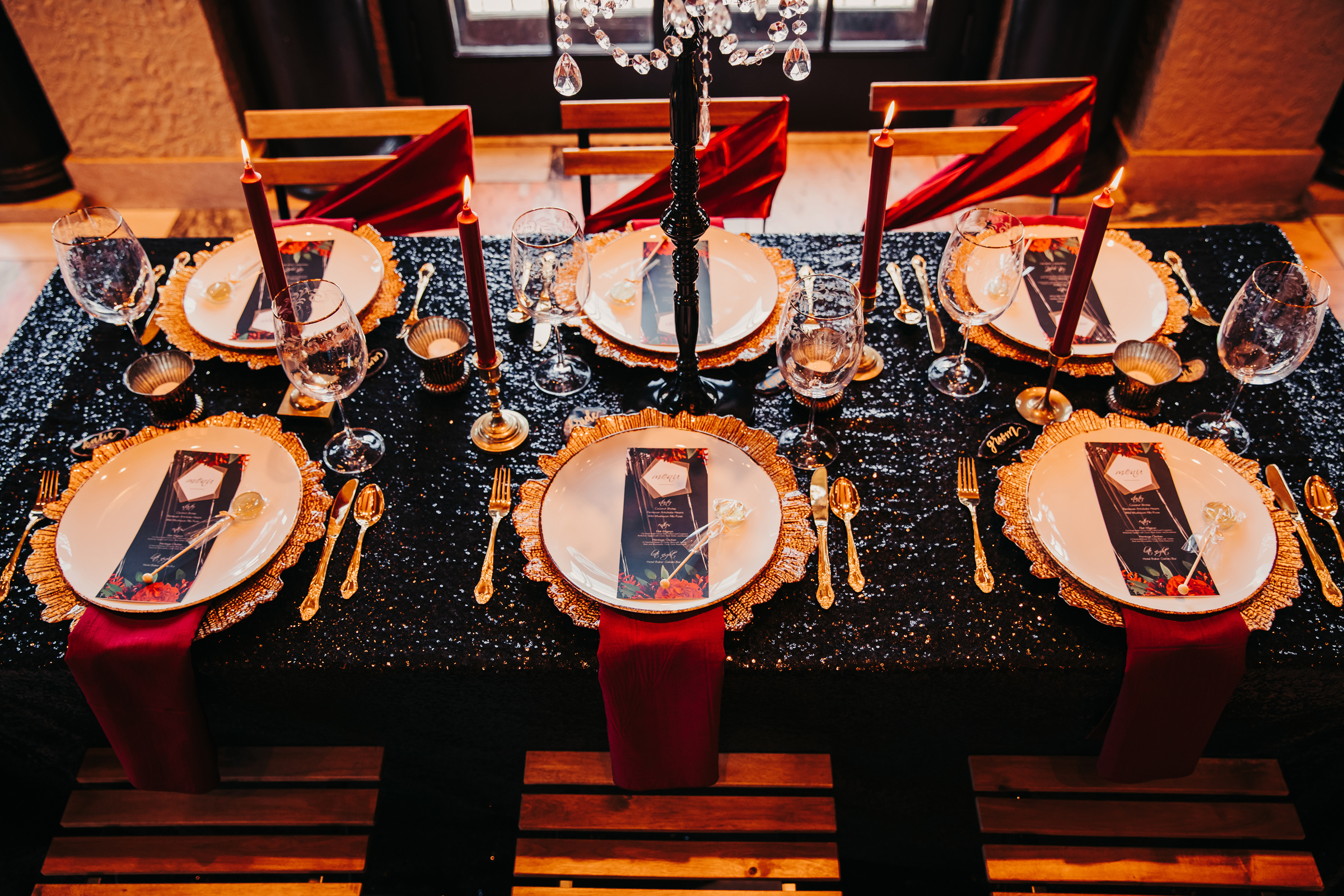 Dramatic Black and Red Wedding Inspiration at Hotel Baker in St Charles (1)