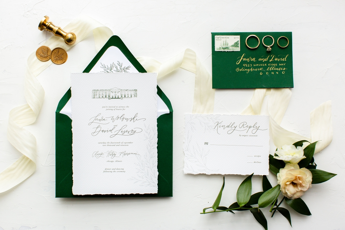 Hunter Green Wedding Invitations