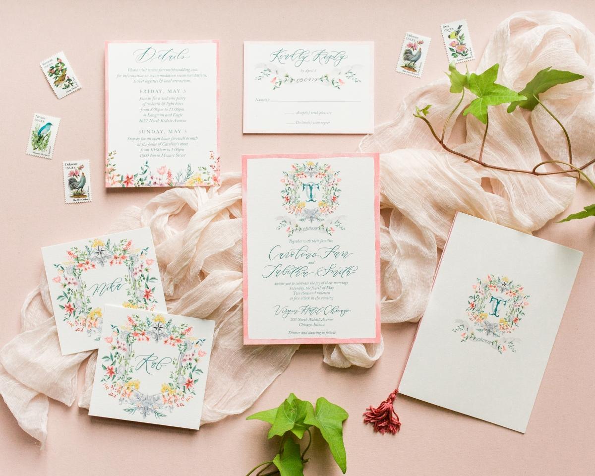 Wedding Invitations with Hand Drawn Monogram