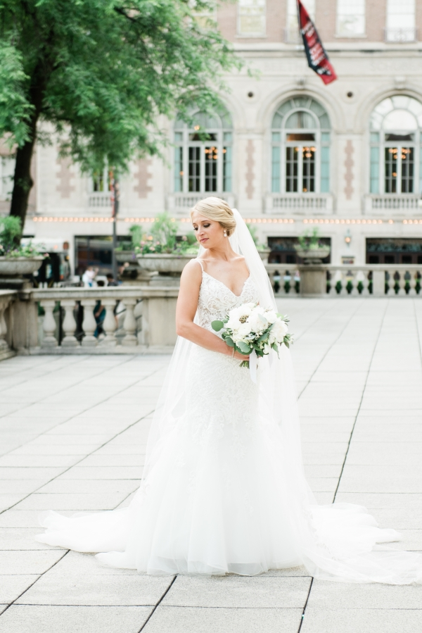 romantic bridal portrait by the south gardens of the art institute
