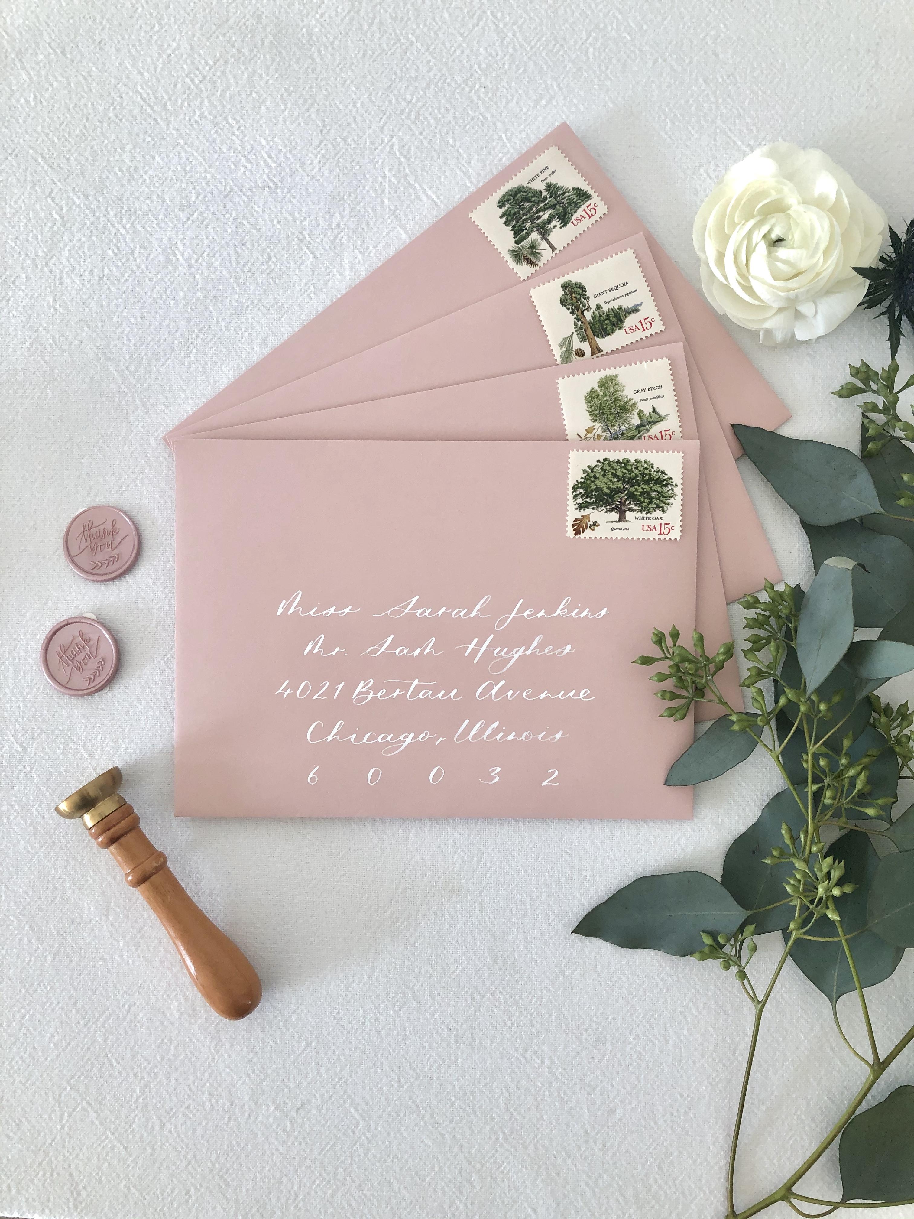 Blush Envelope Calligraphy