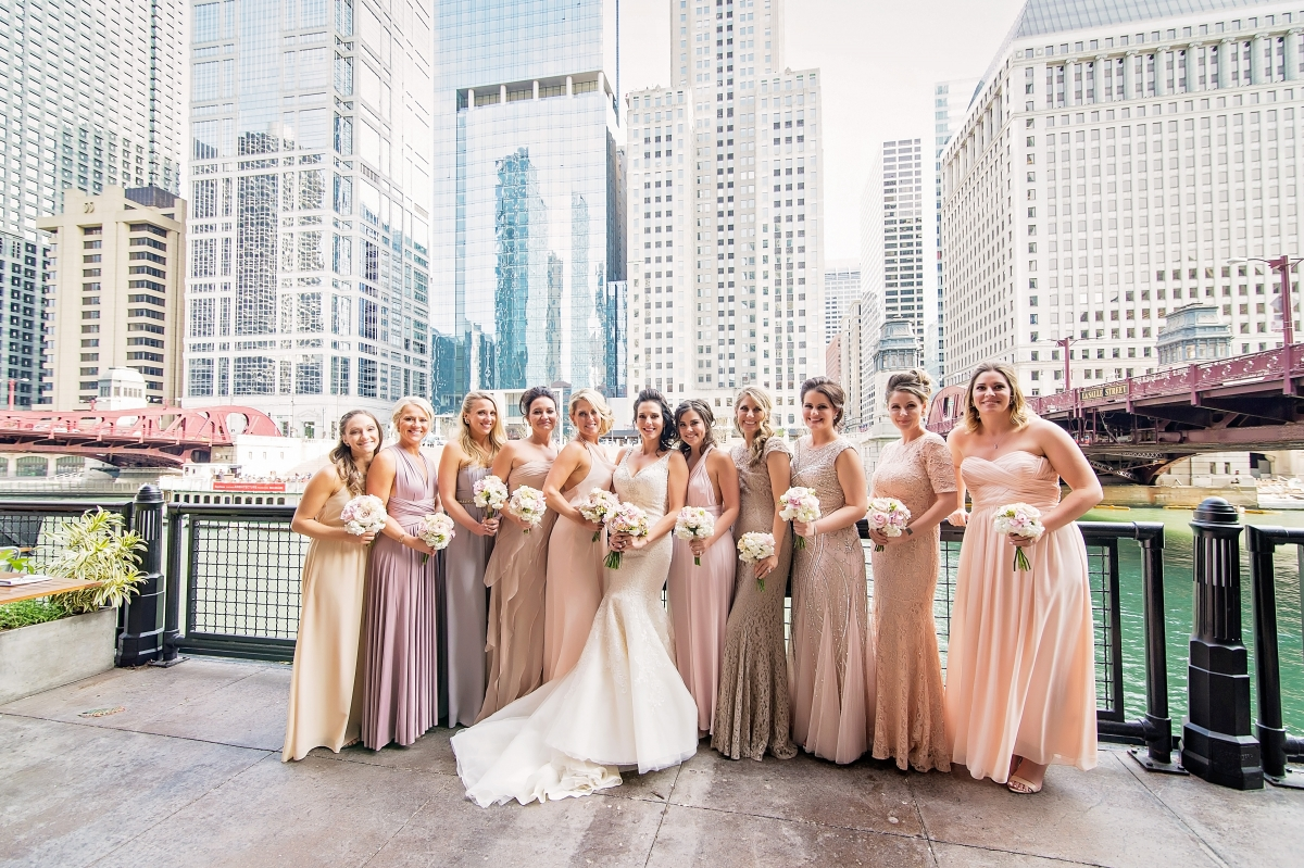 Bridesmaids in Shades of Pink Gold Purple