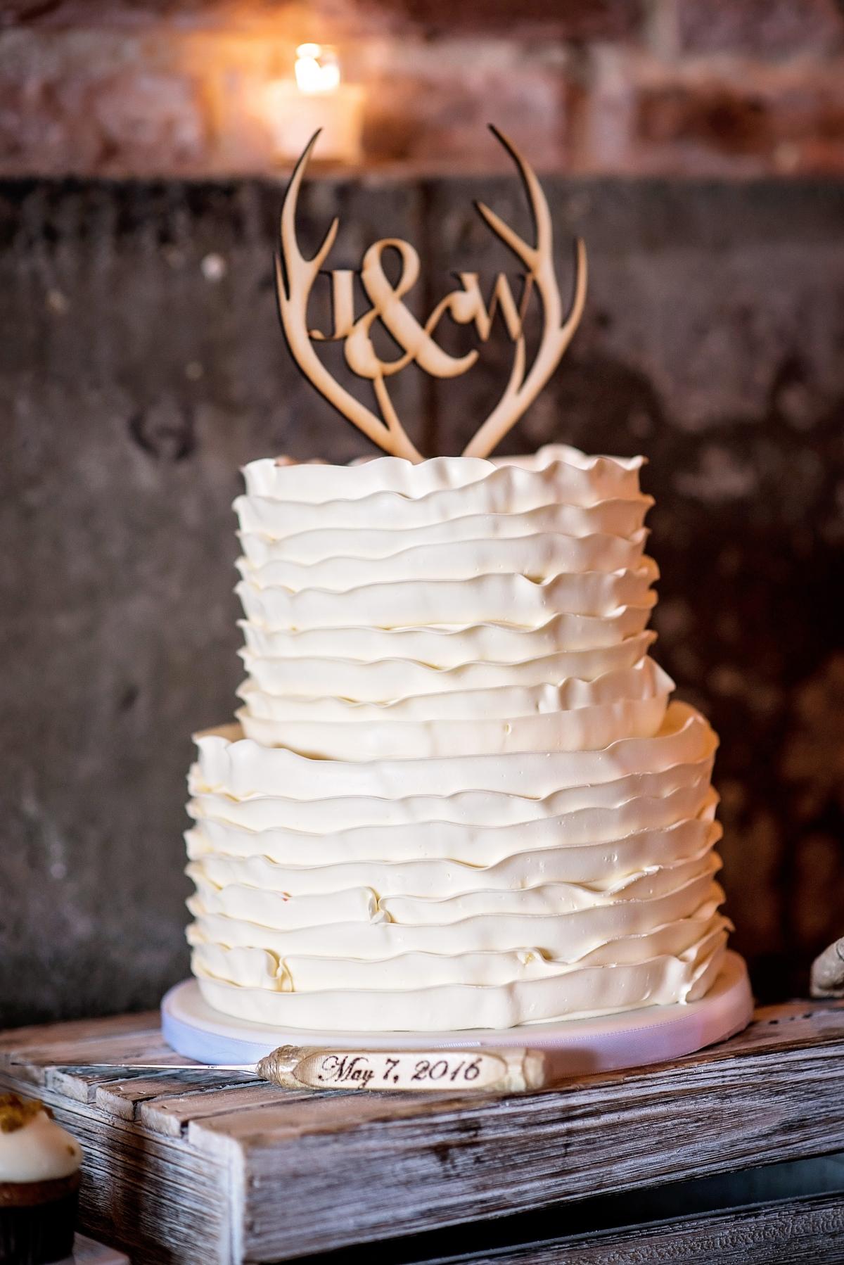 Wedding Cake with Ruffled Icing