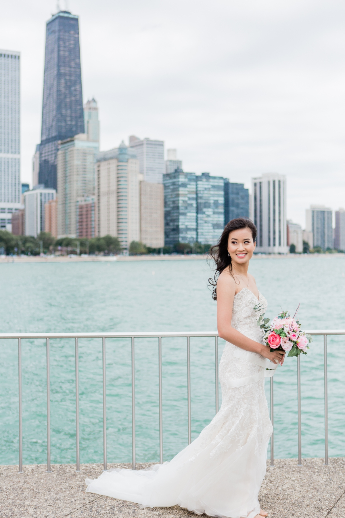 Bride with Chicago Skyline at Olive Park