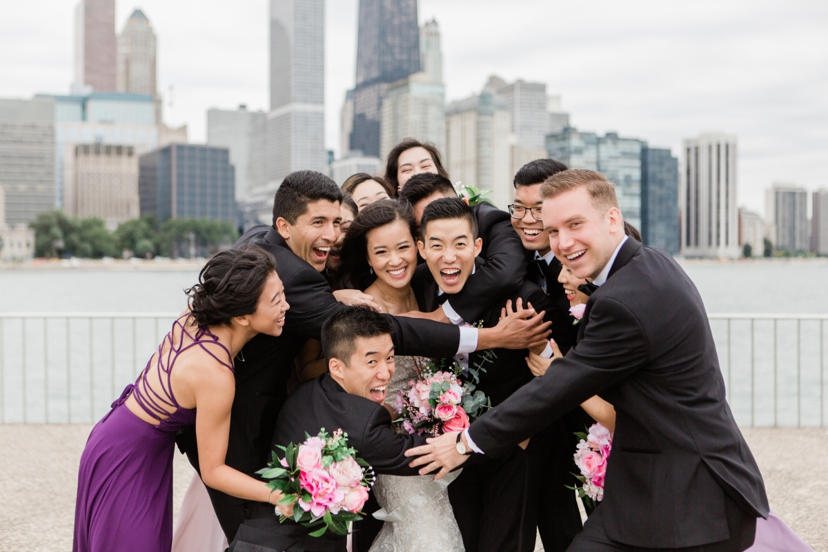 Wedding Party with Chicago Skyline