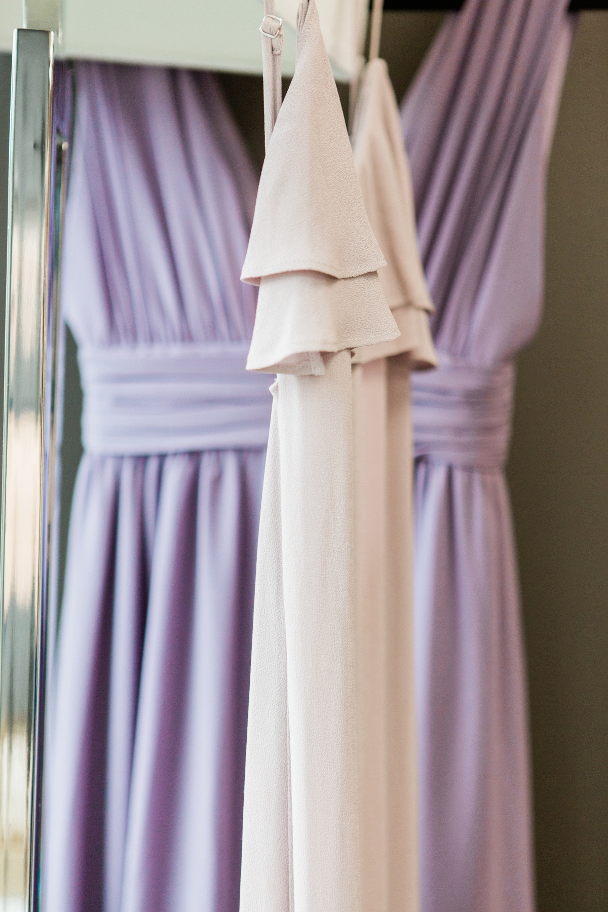 Purple and Ivory Bridesmaids Dresses