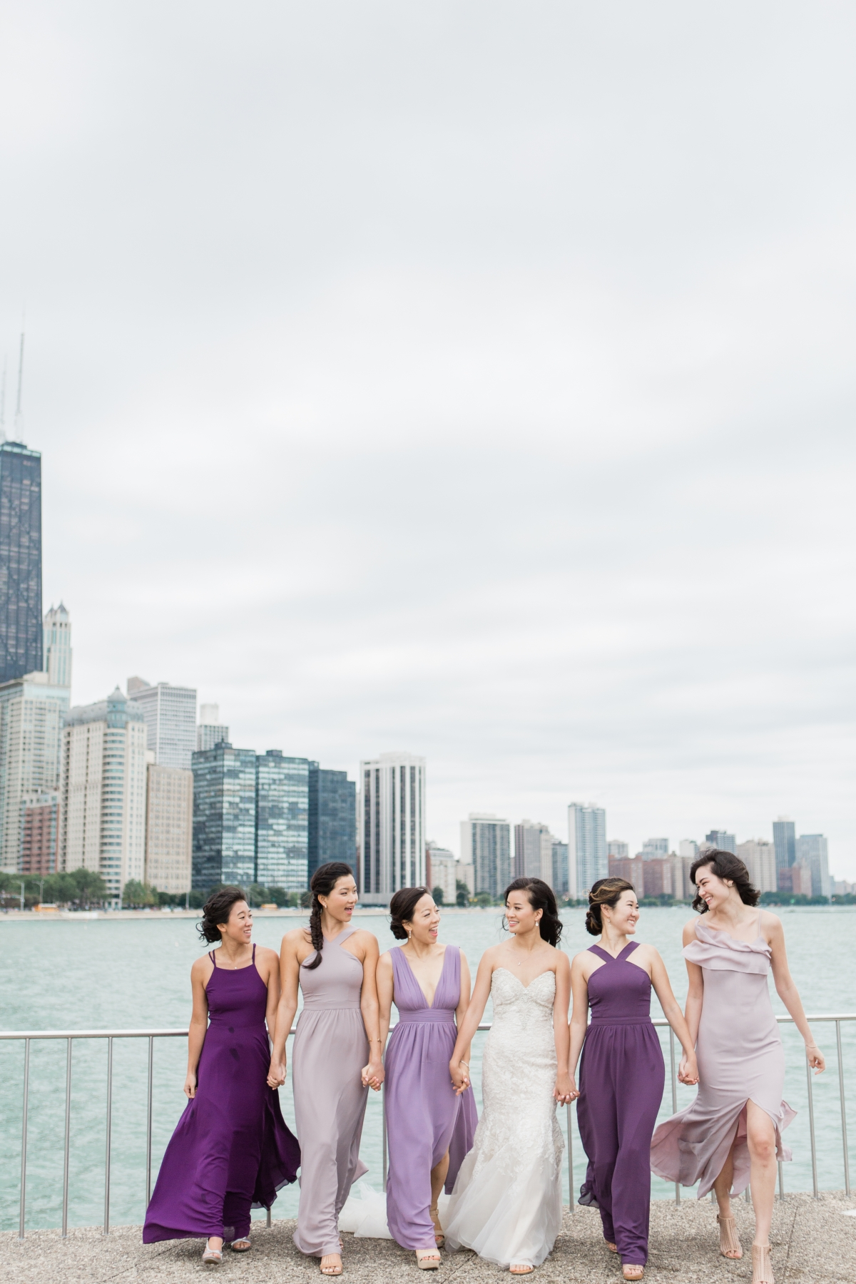 Bridesmaids in Purple at Chicago Olive Park