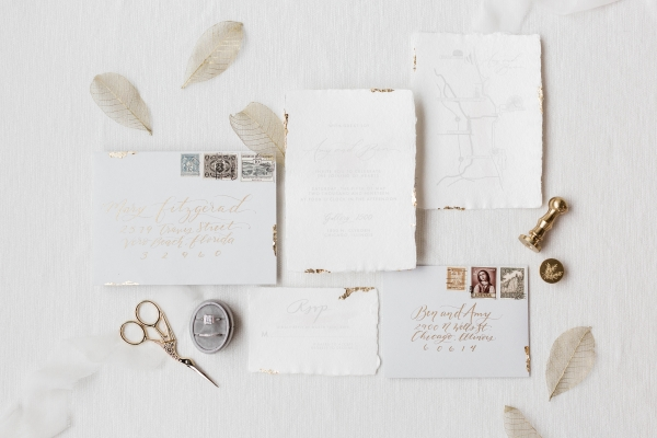 White and Gold Wedding Invitations