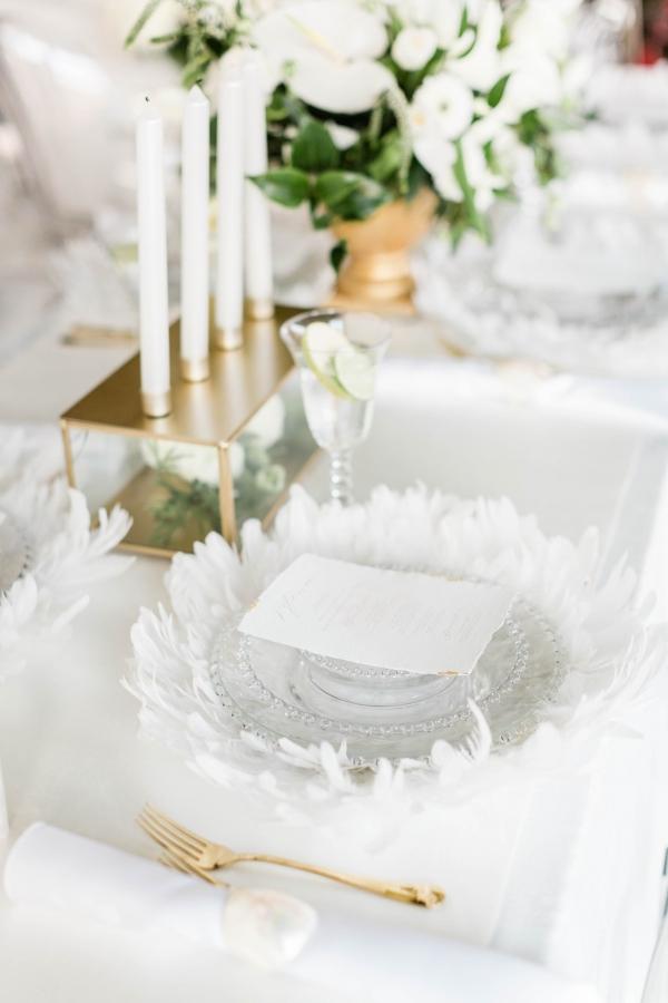 White Feather Wedding Place Setting