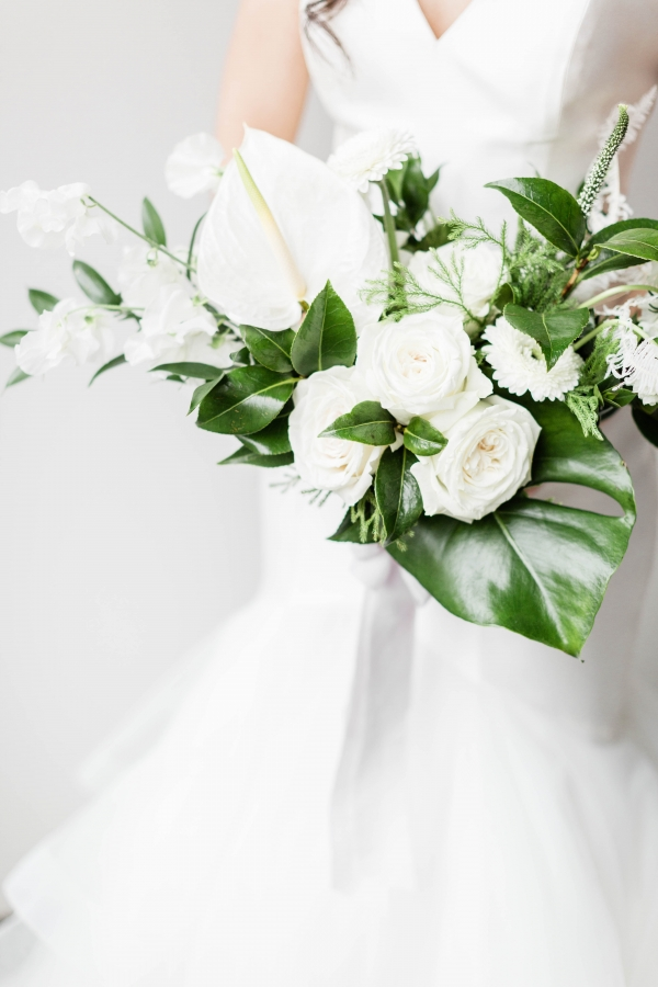 Organic White and Green Bride Bouquet