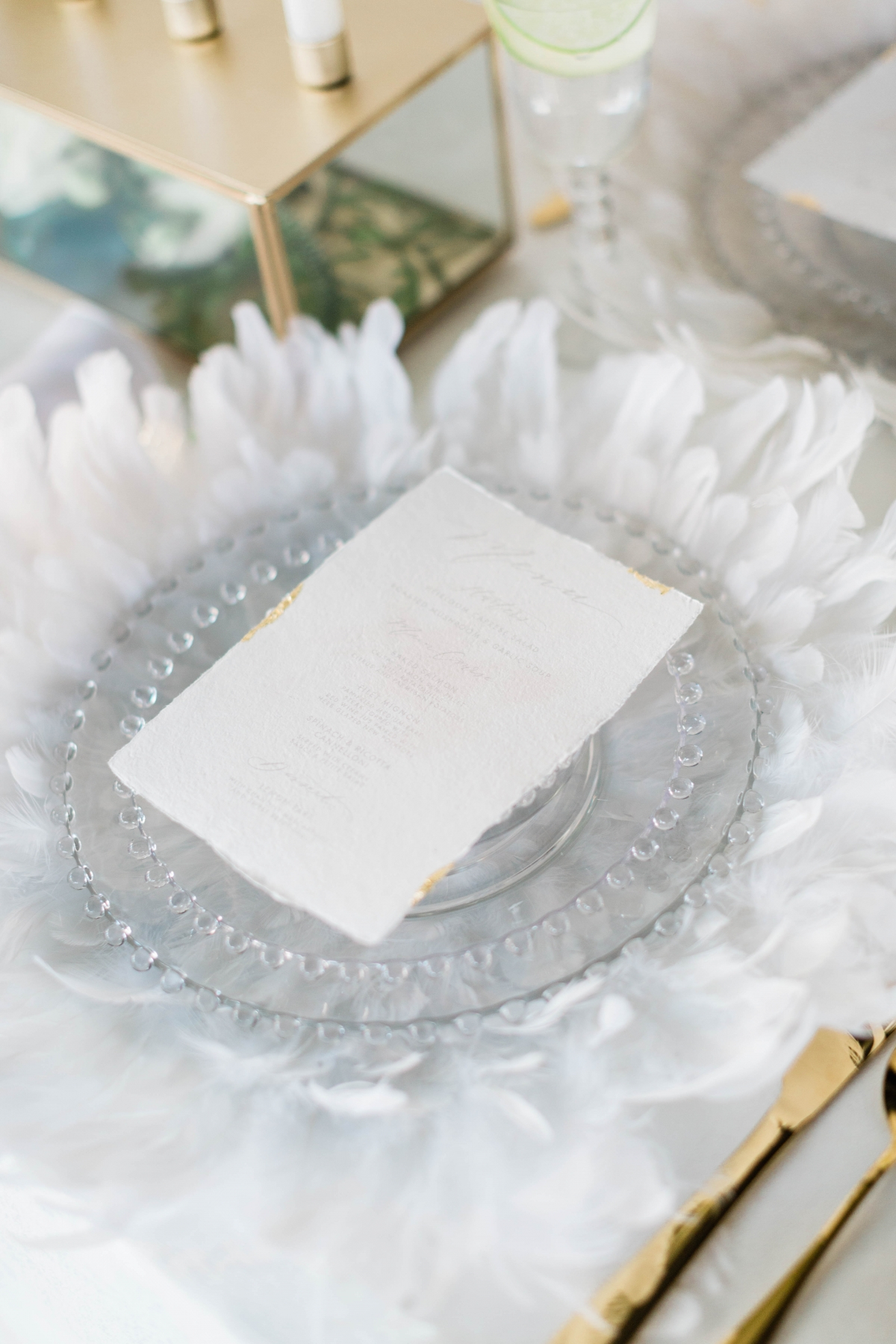 Clear and White Wedding Place Setting