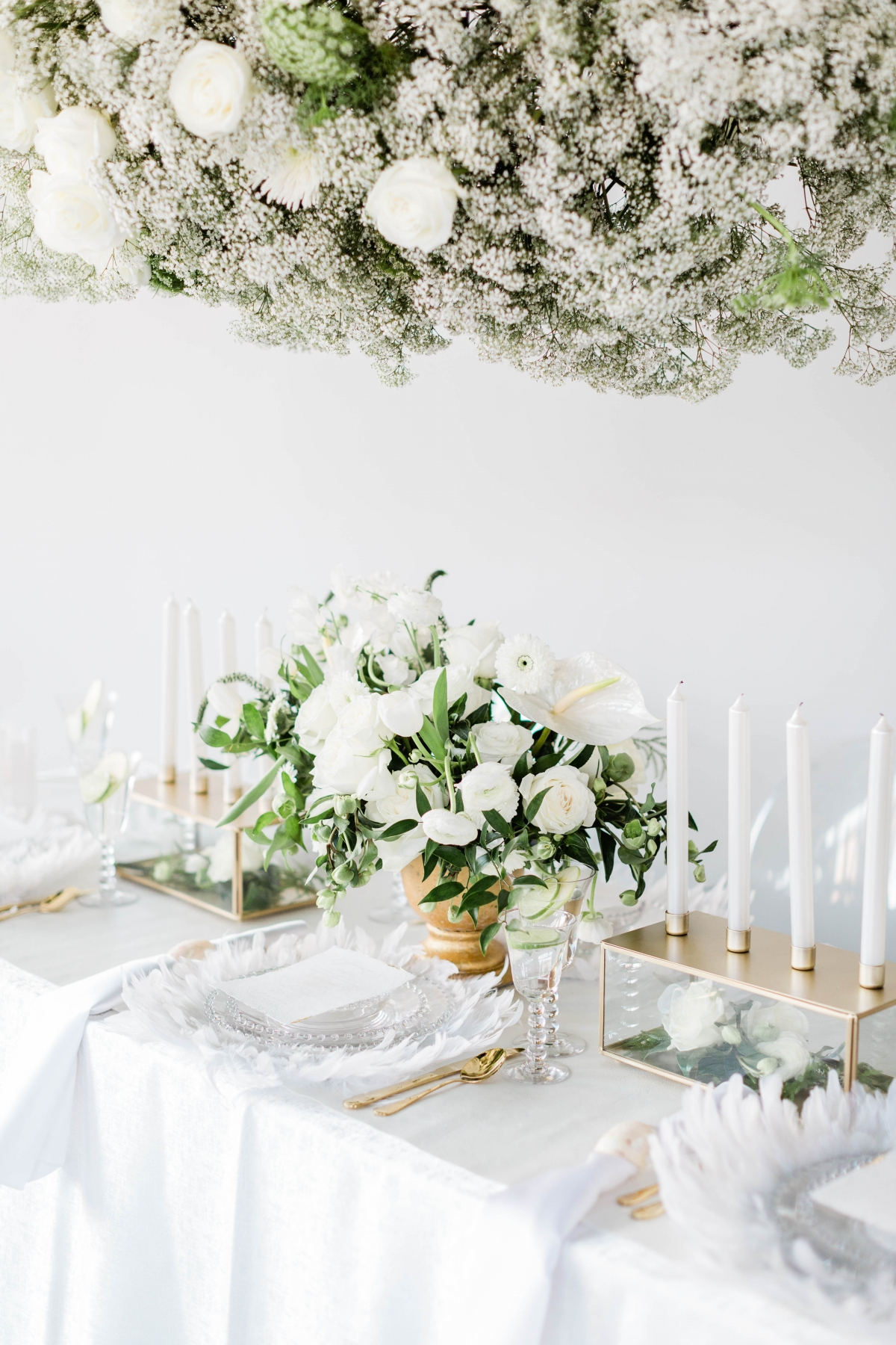 White and Green Baby's Breath Wedding Flowers