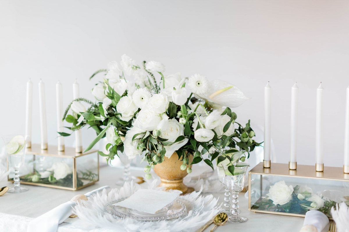 White Gold and Green Centerpiece