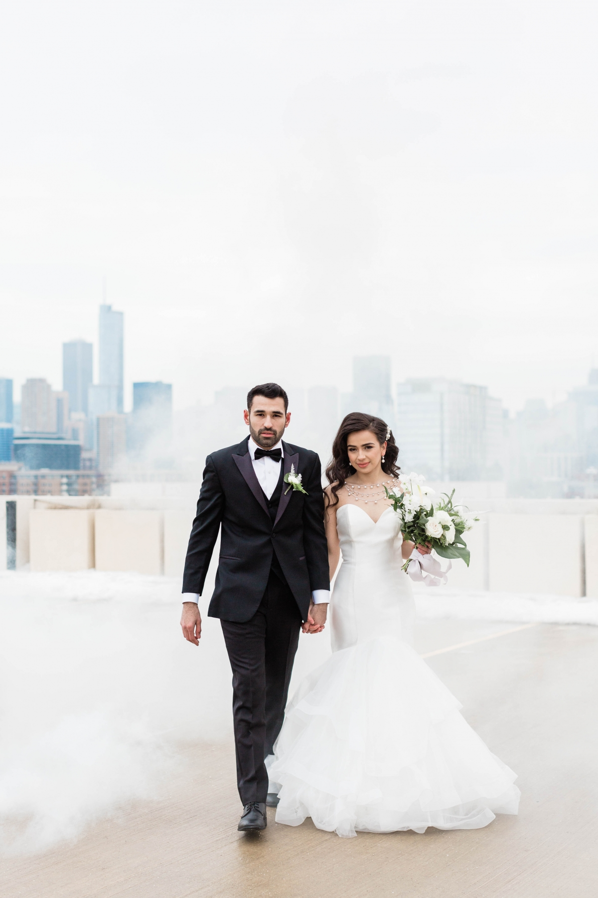 Bride and Groom Chicago Rooftop Smoke Bomb