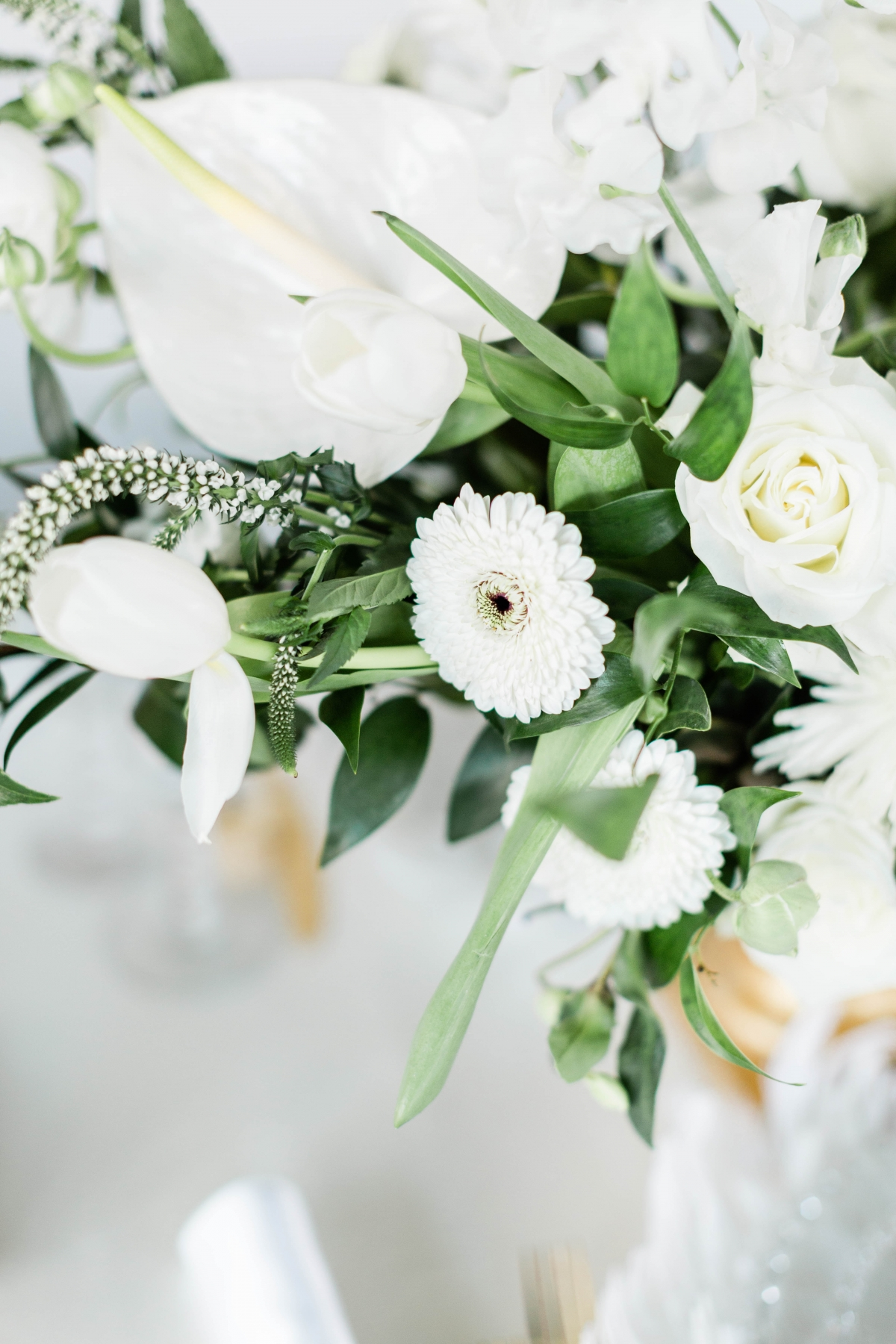 White and Green Centerpiece Flowers
